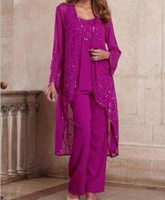 Mother of Bride Groom Women's Wedding dress3PC duster pant suit plusXL1X2X3X4X5X