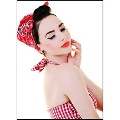 Rockabilly Gals Fashions ROCKABILLY BANDANA HEAD SCARF 20 COLOURS -Polyvore