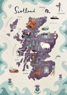 home illustration Scotland Illustrated Map Fine Art Giclee Print Travel Maps, Travel Posters, Places To Travel, Scotland Map, Scotland Travel, Skye Scotland, Scotland Funny, Glencoe Scotland, Glasgow Scotland