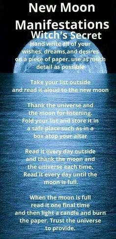 New Moon Ritual Thought this seemed quite cool. Wiccan Spells, Magic Spells, Magick, Beauty Spells, Gypsy Spells, Love Spells, Affirmations, New Moon Rituals, Under Your Spell