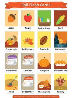 Free printable fall flash cards. Download them in PDF format at http://flashcardfox.com/download/fall-flash-cards/
