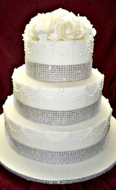 Sparkly White Wedding Cake