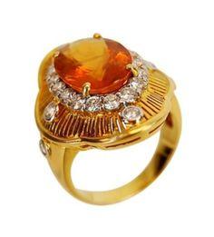 "Found on EstateSales.NET: 14k Citrine and Diamond ""Sunburst"" Style Ring"