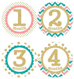 Baby Monthly Milestone Growth Stickers Gold by GinaMarieOriginals