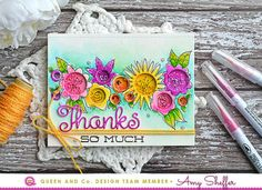 Queen & Co. Circle Bubble Shaker Card with hand drawn flowers by Amy Sheffer.