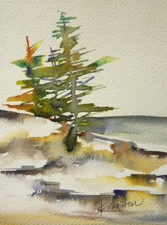 Watercolour, Islands, Trees, Abstract, Coastal, British Columbia, Quadra Island, Perry Johnston