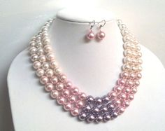 Pink and Purple Chunky Pearl Necklace  Oversized by CandyCoppolla