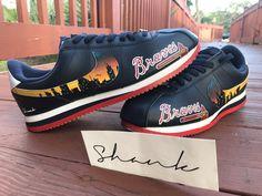 quality design a8da8 e025a Custom Hand Painted Atlanta Braves Nike Cortez Shoes with the Atlanta  Skyline by Shank
