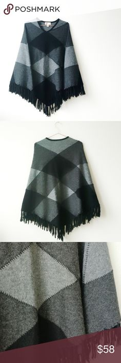 "BERNARDO B Boho Colorblock Fringe Poncho On-trend poncho with contrasting panels on front V-neck Panels of black, charcoal grey and lighter grey with black stitching and fringe About 28"" from shoulder to hem 100% wool 32"" from collar to center down center of back Could be worn by someone small XS to someone very full figured (1X+) Excellent like-new condition. Bernardo Sweaters Shrugs & Ponchos"