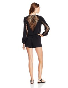 Amazon.com: Parker Women's Ross Lace Combo Long Sleeve Romper: Clothing