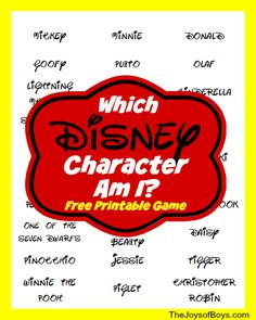 """Which Disney Character Am I?"" - Printable Disney Game -- a fun thing to do before visiting the park!"