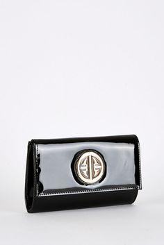 Black Patent Clutch Evening Bag with Gold Coloured Detail Designer Style | eBay