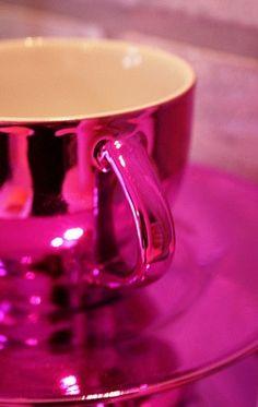 Metallic pink coffee cup