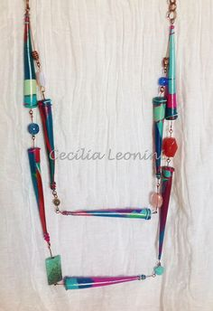 Necklace, polymer clay e pietre dure | by Cecilia Leonini, Polymer clay ImpastArte