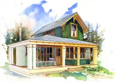 Cottage Style House Plan - 1 Beds 1.5 Baths 780 Sq/Ft Plan #479-9