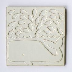 2009-2010 | Whale | slipcast ceramic tile (white) | 18x18cm | EU/Lisa Jones Studio