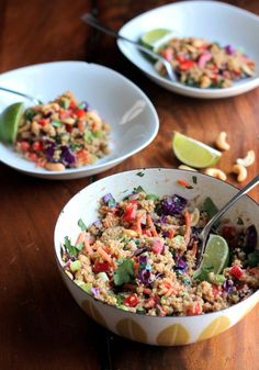 Crunchy Cashew Thai Quinoa Salad with Ginger Peanut Dressing: this recipe takes a good amount of prep work but is easy to toss together; the dressing is delicious and I love having the quinoa in the salad. Veggie Recipes, Whole Food Recipes, Salad Recipes, Vegetarian Recipes, Cooking Recipes, Healthy Recipes, Lunch Recipes, Quinoa Salat, Clean Eating