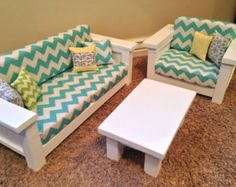 """American Girl Doll Furniture. 18"""" doll size 3 pc Living room set: Couch, Chair, Coffee Table. Turquoise/White Chevron"""