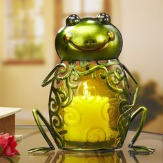 Colored Glass Metal Candle Holder – Frog