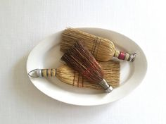 Antique Whisk Brooms . Three Vintage Brooms . Rustic Cabin Decor . Primitive Display . Wall Decor . Farmhouse Style . Old Hand Brooms