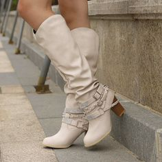 Latest Fashion Design, Fashion Trends, Fashion Ideas, Wide Calf Boots, High Boots, High Heels, Vintage Heels, Boot Brands, Buckle Boots