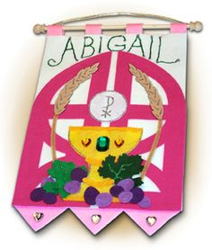 ~ ORIGINAL ~ - First Communion Banner Kit - 9 in. x 12 in. - Gates of Heaven - Rose