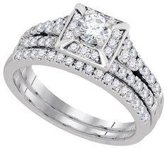 White Gold Square Shape Style Center Round Diamond 0.33ct Bridal Ring Set (1.00 ct. tw)- 40493775