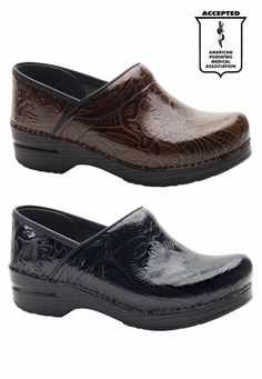 Dansko Professional tooled leather nursing clogs. I want these in brown