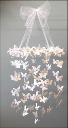 I'm thinkin u could rebend a hanger in any shape u want, paint it white so it don't show, clear string, paper butterflies, glue them around the hanger and the glue 2 butterflies together with the clear string in between for the rest:)