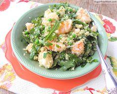 Lemon Garlic Shrimp with Quinoa, Arugula & peas