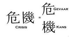 Het Chinese teken voor crisis is ook het teken voor #kans.  Uit een crisis kan veel nieuws voortkomen. Zie het als een nieuw perspectief - een perspectief overigens dat niet per se meteen beter zal zijn dan wat je had. Misschien moet je eerst weer wat terugschakelen. Maar dat is altijd nog te verkiezen boven blijven hangen in dat zwarte gat....... Whatever Is True, Read Later, Online Marketing, Poetry, Positivity, Qoutes, Reading, Seeds, Quotations