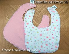Flowers and Butterflies  Baby Bib by oceanbreezeboutique on Etsy, $5.00