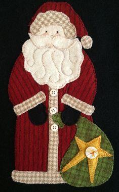 Motif et vieux St Nick laine appliqué kit Motifs Applique Laine, Wool Applique Patterns, Felt Applique, Quilt Patterns, Christmas Applique, Christmas Sewing, Motifs D'appliques, Felt Ornaments Patterns, Felted Wool Crafts