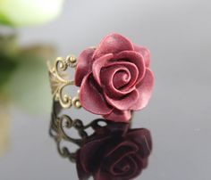 Vintage Wine red ROSE Resin adjustment Ring by BeautyandLuck, $3.99