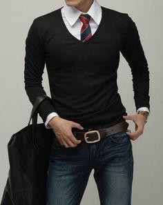 Black v-neck and tie