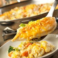 Cheesy Chicken and Rice skillet. This is one of our favorites. Switch up which veggies and cheese you put in.