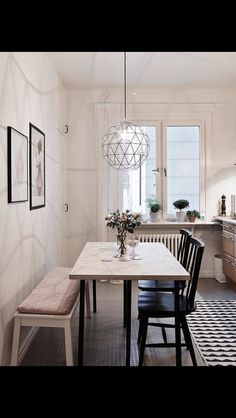 52 Beautiful Small Dining Room Ideas On A Budget. If you are living in a small and limited space, everything might seem so limited in size including your small dining room. There is no other way to expand its size unless giving proper dining room… Stylish Apartment, Small Dining Room Table, Dining Room Design, Dining Room Furniture, Small Dining, Dining Room Lighting, Home Decor, House Interior, Apartment Decor