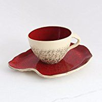 Red Teacup with Saucer, wheel thrown teacup, stoneware cup, handmade mug, Cappuccino Cup, Big coffee cup, Pottery