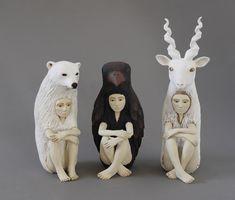 Ceramic Art NEW__Striking Ceramic Sculptures of Human-Animal Hybrids Explore Relationship Between People and Nature - My Modern Met Ceramic Figures, Ceramic Artists, Sculpture Meaning, Cerámica Ideas, Statues, Animal Sculptures, Ceramic Sculptures, Bird Sculpture, 3d Fantasy
