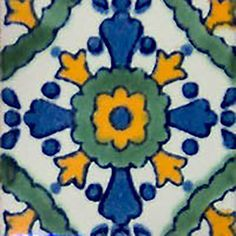"""Mexican tiles in """"Cuautla"""" style. Handmade with blue, green and yellow terra cotta tile design over white background. Shipping from Mexico to the US and Canada is estimated for four weeks. Mexican Ceramics, Mexican Tiles, Decorative Tile, Tile Design, Backsplash, Color Pop, Hand Painted, Bathroom Fireplace, Stair Risers"""