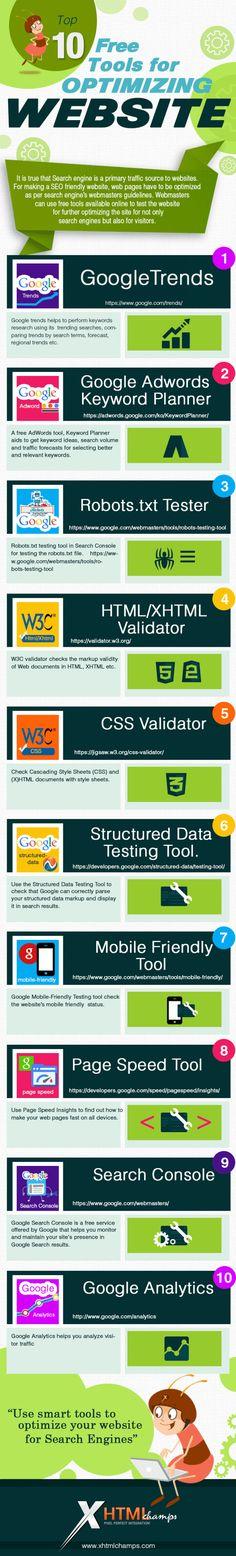 Infographie : 10 outils pour optimiser son site et son SEO