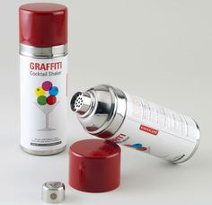 There is nothing like finishing your illegal tag and having a cocktail. This cocktail shaker adds a touch of class to any back alley graffiti party. Spray Paint Cans, Spray Painting, Mojito, Whisky, Vodka, Liquor Dispenser, Ideas Prácticas, Party Ideas, Gift Ideas