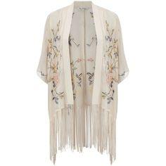 Miss Selfridge Petites Floral Kimono, Peach found on Polyvore featuring cardigans, kimono, outerwear, white, petite and miss selfridge