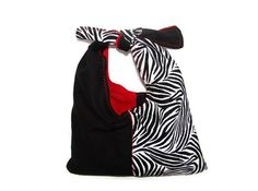 Zebra Purse/ Black & White with Red Lining by bagsbyhags45 on Etsy, $8.50