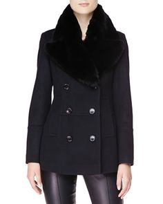 Double-Breasted Pea Coat with Fur Collar by Burberry London at Bergdorf Goodman.