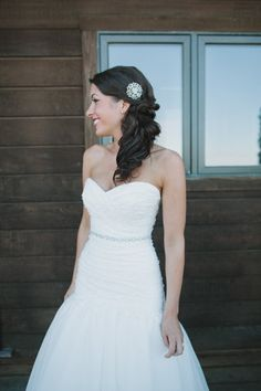 Side-swept wedding hair