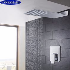 97.82$  Watch now - http://aliiaq.shopchina.info/1/go.php?t=32814003419 - New Rainfall Bathroom Shower sets Shower Head Luxury Wall Mounted Square Style Brass Waterfall Shower Set Factory Direct  #magazineonlinewebsite