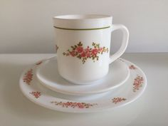 Vintage Arcopal France trio - cup saucer and plate - pink flower - Bagatelle pattern