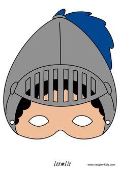 Masker van ridder, gratis te downloaden op www.heppie-kids.com. Ook in zwart/wit verkrijgbaar.
