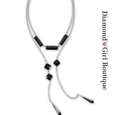 """🇺🇸SALE🇺🇸 Lariot necklace.. Unexpected glamor with this simple lariat necklace in silver- tone with black enamel accents, 50"""" long, can be worn several ways Diamond💓Girl Boutique Jewelry Necklaces"""